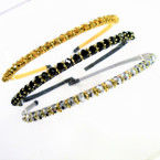 Best Quality 3 Color Crystal Stone Fashion Headbands .54 each