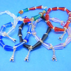 Elegant Crystal Stone Stretch Bracelets w/ Silver Tower Charm .54 ea