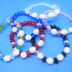 Crystal Stone Stretch Bracelets w/ Crystal Fireball Beads .54 ea