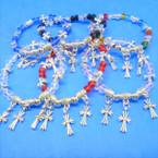 Crystal Stone & Silver Cross Bracelets w/ Silver Cross Charms  .54 ea