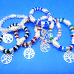 Crystal Stone & Pearl Bracelets w/ Silver Tree of Life Charm  .54 ea