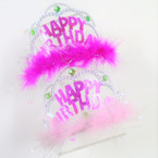 Silver Happy Birthday Fury Tiara Headbands  12 per bx .56 each