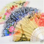 Paris Theme Lace Hand Fan Asst  Pattern 12 per pack  .55 each