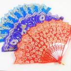 Fashionable Glitter Pattern Hand Fan Asst  Pattern 12 per pack  .55 each