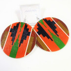 "3"" Africa Print Wood Fashion Earrings .54 each"