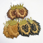"3.5""  Wood Lion Fashion Earrings w/ Gold Sparkle Crown .54 each"
