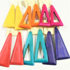 """4"""" Asst Bright Color Wood Earrings 2  Shapes  .54 each"""