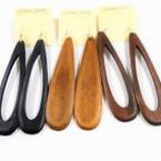 """4.25"""" Woodtone  Color Wood Earrings 2  Shapes  .54 each"""