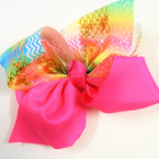 "6"" Big Gator Clip Bows Two Tone Solid & Rainbow Metallic .54 ea"