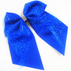 "6"" X 6"" Big Gator Clip Tail Bows w/ Glitter Lace & Mini Crystals .54 ea"