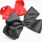 "Popular 5"" Big Gator Clip Bows w/ Multi Color Stones  .54 ea"