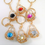 "1.5"" Cast Gold Handbag Keychains w/ Lg. Stone & Crystals .65 each"