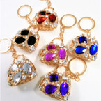 "2"" Cast Gold Handbag Keychains w/ Colored Stone & Crystals .65 each"