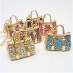 """1.5"""" Cast Gold Handbag Keychains w/ Crystal Stones  .65 each"""