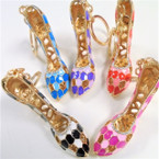 "3"" Cast Gold High Heel  Keychains w/ Mini Crystal Stones  .65 each"