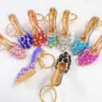 "3"" Cast Gold High Heel  Keychains w/ Colored  Stone & Crystal Stones  .65 each"