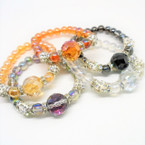 Mixed Color Stretch Bracelet w/ Lg. Crystal Stone  & Fireball Beads .54 ea