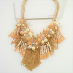 Beige  Color Cluster Shells & Crystal Beads w/ Gold Chains Necklace sold by pc $ 3.00 ea