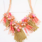 Coral Color Cluster Shells & Crystal Beads w/ Gold Chains Necklace sold by pc $ 3.00 ea