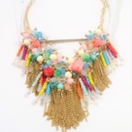 Multi Color Cluster Shells & Crystal Beads w/ Gold Chains Necklace sold by pc $ 3.00 ea