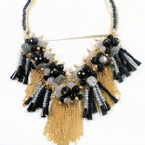 Blk & Gray Color Cluster Shells & Crystal Beads w/ Gold Chains Necklace sold by pc $ 3.00 ea