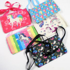 "3.5"" X 5.5"" Glitter Zipper Bag w/ Unicorn Theme Print Lg. Strap .56 each"
