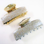 "3.25"" Gold & Silver Jaw Clip s w/ Clear Crystal Stones .54 ea"