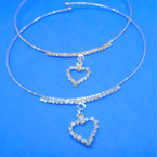 Gold & Silver Wire Choker Necklace w/ Rhinestone Heart 12 per pk .54 ea