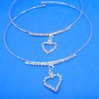 Gold & Silver Wire Choker Necklace w/ Rhinestone Heart 12 per pk .54 ea