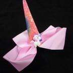 "5"" Gator Clip Bows w/ Glitter Unicorn Horn Asst Colors .54 ea"