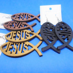 "3"" 3 Color Jesus Fish Wood Earrings .52 per pair"