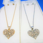 Gold & Silver Chain Neck Set w/ Clear Crystal Stone Heart Pend. .54 per set