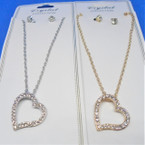 Gold & Silver Chain Neck Set w/ Crystal Stone Open Heart Pend. .54 per set