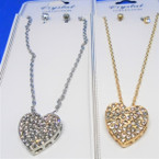 Gold & Silver Chain Neck Set w/ Crystal Stone Raised Heart Pend. .54 per set