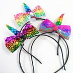 Unicorn Theme Headbands w/ Mermaid Scale Bow .54 each
