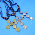 "DBL Leather Cord Necklace w/ 2"" Gold/Silver San Benito Cross  .54 each"