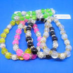 Shiney Bead Stretch Bracelets w/ Fire Ball Crystal Stone Beads .54 each