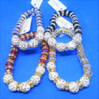 Crystal Bead Stretch Bracelets w/ 5 Fire Ball Crystal Beads .54 each
