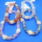Crystal Bead Stretch Bracelets w/ 5 Fire Ball Crystal Beads Gold/Sil .54 each