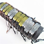 New Fashion Teen Leather Bracelets  Gold/Sil Peace Theme 12 per pk .54 ea