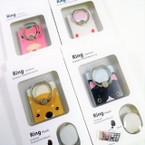 Cute Cat Theme Print Ring Hook Phone Holders 12 per pk .56 each