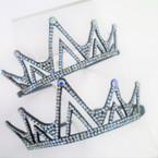 Black Crown Tiara Style Headband w/ Clear Crystal Stones .54 each