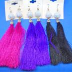 "4"" Fashionable Tassel Earrings w/ White Sparkle Bead Top .56 each"