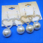 Gold & Silver Heart Rhinestone Earring w/ Pearl Ball Drop .54 ea