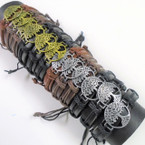 Teen Leather Bracelets  w/ Gold/Silver Tree of Life  12 per pk .54 ea