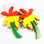 "3"" Rasta Color Palm Tree  Wood Earrings .54 each"