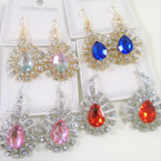 Gold & Silver Crystal Stone Oval Earring w/ Gemstone Center .54 each