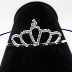 "All Silver 2.5"" Rhinestone Tiara Headbands Clear Stones (002) .65 each"