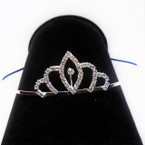 "All Silver 2.5"" Rhinestone Tiara Headbands Clear Stones (004) .65 each"