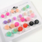 12 Pair Asst Color Frosted Ball Earrings .54 per set